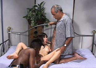 Skinny Latina slut gets non-private by two older black males in her bed