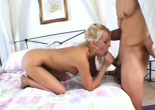 Hawt blonde drills her sweet holes with a banana and gives freak