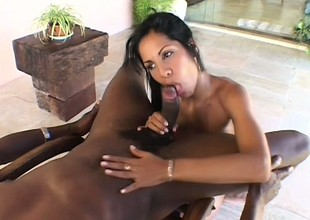 Charming Latin witch is doing fantastic cum-stick with her element cleft