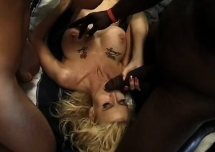 A dirty blonde just wants to be a cum dumpster for all these fellows