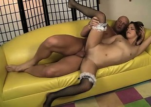 Lovely Latina maid Gigi Rivera jumps on top of a long gin-mill and rides it with passion