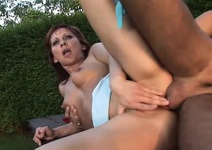 Luscious redhead mom Myra gets her pussy fucked hard on a lead-pipe cinch difficult table