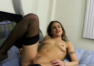 An eager blonde falls to her knees and puts her mouth to work