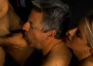 Two older ambisextrous dudes get it on with a gorgeous blond cosset