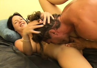 Busty brunette is a squirter plus gives head before fucking to let loose her juices