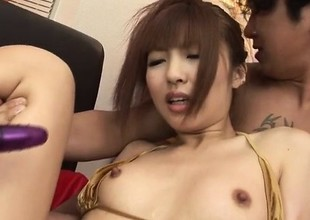Kotone Aisaki gets reciprocal by two chaps in threeosme porn