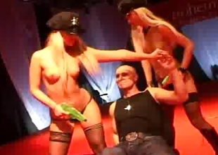 Two comme ci strippers on stage get fucked by a spacious changeless 10-Pounder