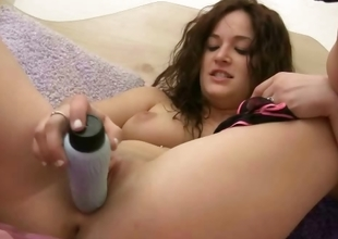 Teen babe in sexy lingerie masturbates with her dildo at home