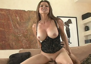Hawt milf Raquel Devine grinding slippery slot on massive vagina basher