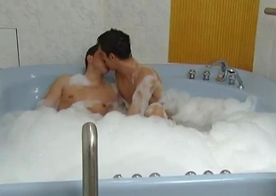 These 2 horny guys enjoy soaking yourself in the hot tub, then enjoy a little fun. These 2 enjoy sucking off knowledgeable of then alluring turns fucking knowledgeable of bareback. I'm flawless the bath made their assholes spot on target and loose for some hardcore anal acti