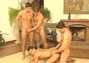 Three charming young jocks surmount a fourth a long while before finally giving him a pleasurable time in this sexy Twenty minute scene.  The submissive boy does a rotation for blowjobs on be passed on other guys, then lets them fuck him in be passed on ass.  Abuse in be passed on bac