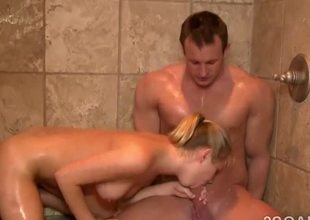 Glamorous blonde with perfect body sucks off client in the shower!