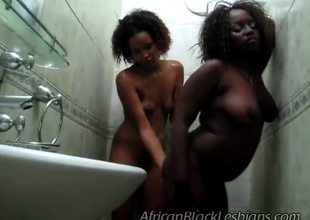 Egregious African hotties were excited in shower