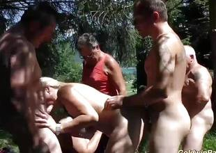 Bizarre gangbang with respect to nature