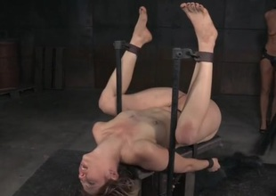 Bound honey gets a hard drubbing on her naked parts