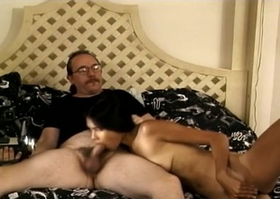 Non-professional Asian gal banged by an old white guy