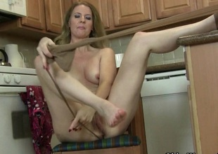American milf Lacy needs to get off in all directions pantyhose