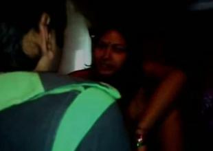 Sexy Indian GF is riding hard gumshoe nigh a dark room
