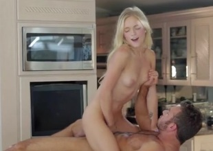 Cock riding on the pantry counter with a beauty