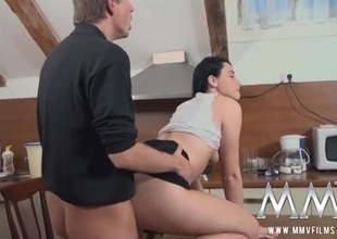 Beautiful German girl fucked on the kitchen table