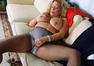 American gilf Cristine acquires slutty in new pantyhose