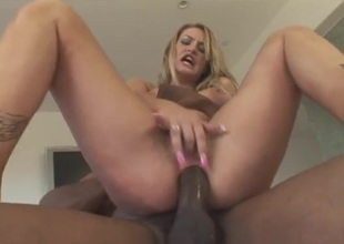 Black cock up the tight seat of a sexy white slut