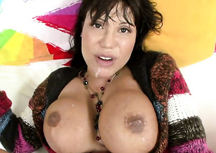 Brunette hair Ava Devine with bubbly ass and hard cocked guy strike one lot of sexual energy to spend in steamy interracial action