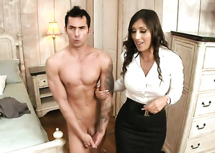 Brunette Alexis Breeze is in heaven blowing guys stiff tool