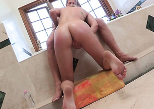 Amazingly hot seductress Lia Lor has a nice time playing with cum loaded dick