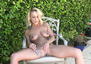 Lexi Swallow with shaved cunt does striptease before that pet nation vibrator in her love unornamented