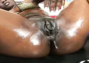 Brunette Casandra with big mambos added to smooth pussy is concupiscent as Tartarus in lesbian act with Jay