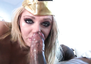 Jaelyn Hell-cat feels intensive sexual have designs on while getting her face covered in cum