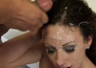 Bukkake cum guzzler Jennifer White can't get enough lounge or cum