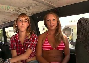 Deathly brown and blonde are in the back of a van, playing with one another and also with a guy that they are with in a threesome. see them sucking some cock.