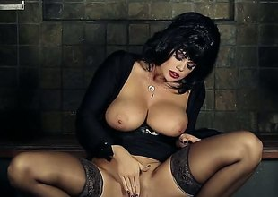 Black haired glamour babe roughly huge tits spreads her legs wide open to rub her trimmed pussy right roughly front of transmitted to camera. Sexy woman roughly black stockings shows her left-hand hole eagerly.