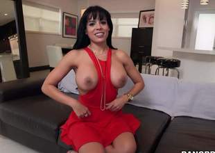 Raven haired busty sexy Luna Star in sexy red suit pulls out their way huge chest and then takes hard dick in their way eager mouth. She gives suck job like a pro from first person vista