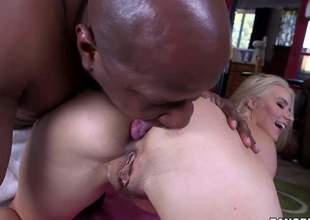 Naked long haired MILF blond Anikka Albrite with sexy body gets will not hear of asshole licked by hot chocolate skinned guy before she takes his big black cock. She eats and strokes Crowned head Yashuas nice pole at the same time