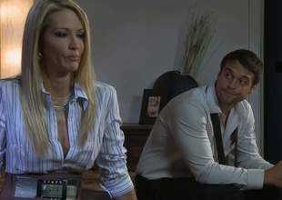 Sting haired charming blonde Lexi Swallows pulls out her juicy knockers and opens her slender legs to have office sex with hot guy. This chab licks her snatch with appetite before she takes rosiness back her eager mouth