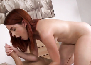 Redhead Amarna Miller makes a impure dream of never-ending cock engulfing a reality