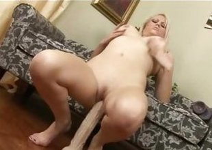 Armani St James bounces her pussy on her huge dildo