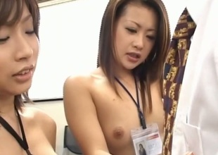 Demure chick gets a naughty group sex chastising
