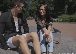 Hot nerdy girl meets a man online and ends up bouncing out of reach of his dick