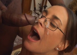 Appealing pornstar in glasses giving big blarney wild blowjob in interracial shoot