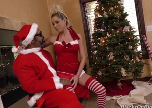 Excited white angel visits darksome Santa to get some holiday cock