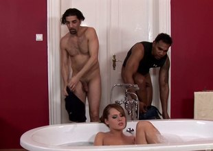 Two guys interrupt the brush bath and turn it into a hot threesome