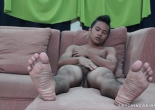 Homosexual Oriental Foot Fetish Boy Nikos Jacking Off