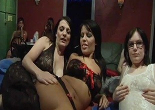 Three sexy British cuties hooked near for a Saturday night gangbang party at our local fuck hut.