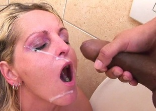 Hot blonde MILF sucking and fucking in toilet