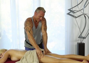 Busty golden-haired gets proclaim with the horny masseur