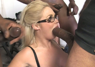 Chubby chick with big boobs Katie Kox fucks a crowd of black dudes